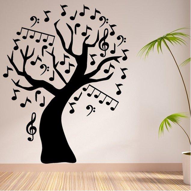 Vinilo Decorativo árbol De Notas Musicales