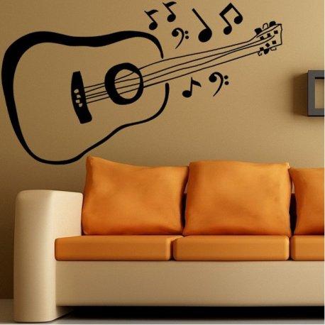 Vinilo decorativo guitarra espa ola y notas musicales for Vinilos decorativos con notas musicales