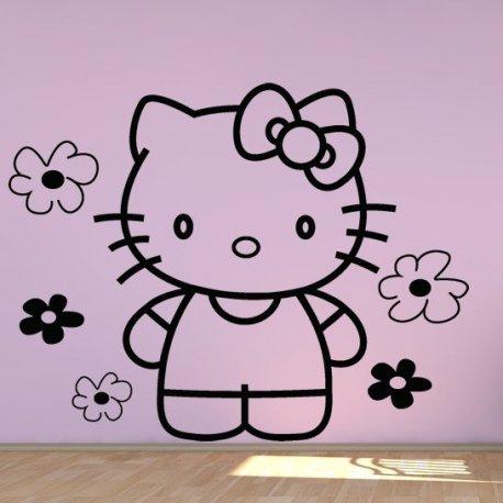 Vinilo decorativo infantil hello kitty entre flores for Vinilo hello kitty