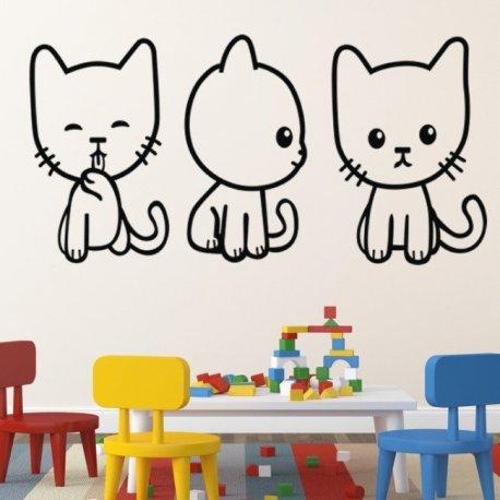 Vinilo decorativo infantil peque os gatitos juguetones - Vinilos pequenos ...