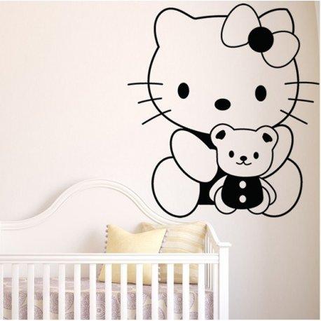 Vinilo decorativo infantil hello kitty y su osito for Vinilo hello kitty