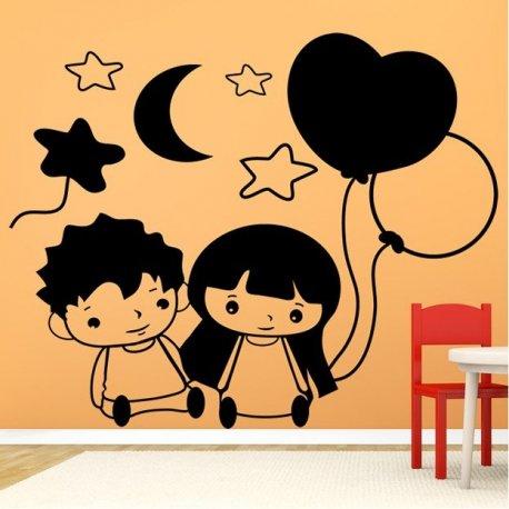Vinilo decorativo infantil pareja de peque os infantiles - Vinilos pequenos ...