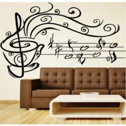 Taza de Café con Notas Musicales