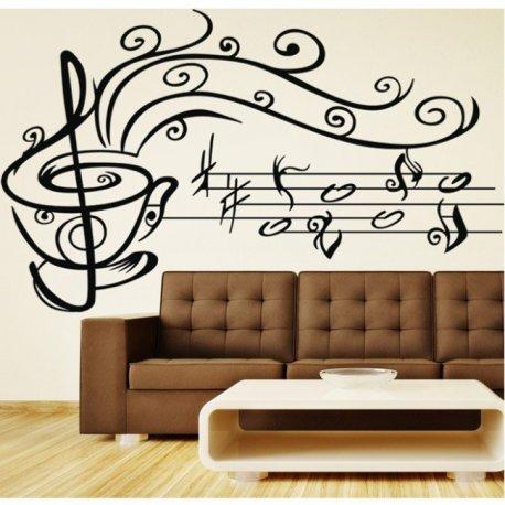 Vinilo Decorativo Taza De Caf Con Notas Musicales