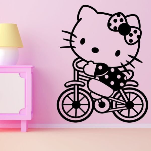 Vinilos Hello Kitty Pared.Vinilo Decorativo Infantil Hello Kitty En Bicicleta