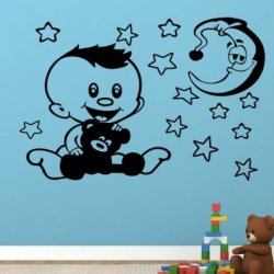 El Pequeño Bebé con su Osito y la Luna