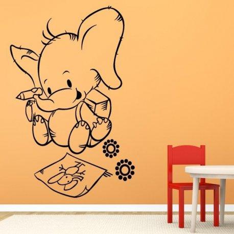 Vinilo decorativo infantil peque o elefante pintor - Vinilos pequenos ...