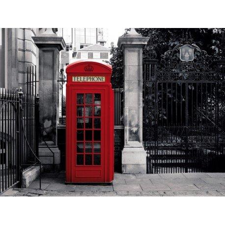 Cabina de Teléfonos Londres Rojos sobre Gris