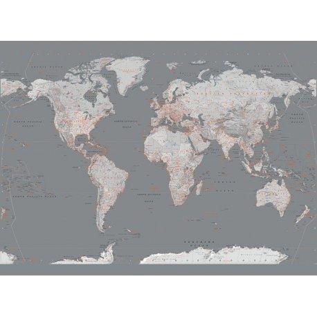 Mapa Mundo Elegante Gris y Naranja
