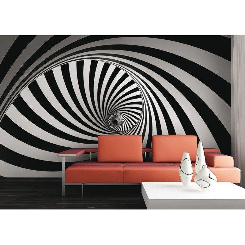 Fotomural decorativo en medio del bosque blanco y negro Fotomurales blanco y negro