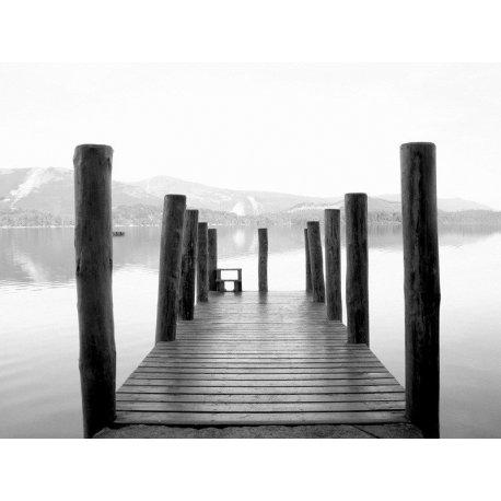 Muelle del Lago en Blanco y Negro