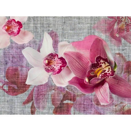 Composición Orquídea Lila sobre Tela