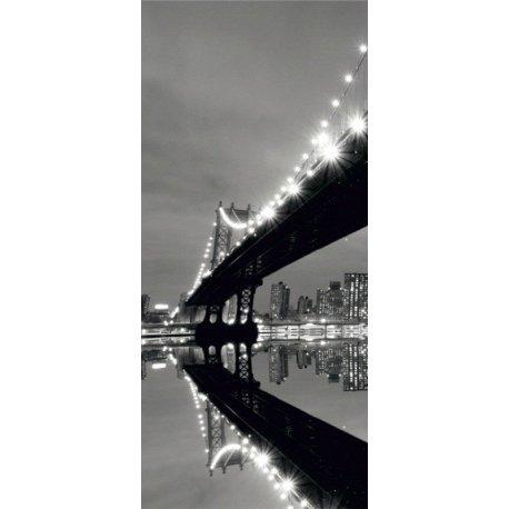 Bajo el Puente Iluminado en Blanco y Negro