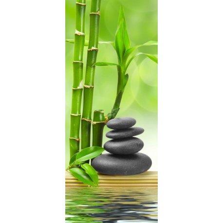 Bambú y Piedras Negras en Equilibrio