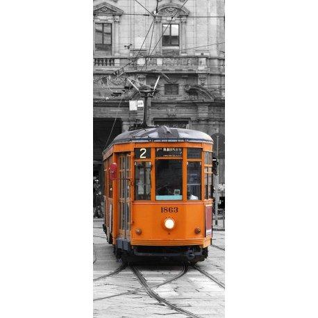 Tranvía Milán sobre Blanco y Negro