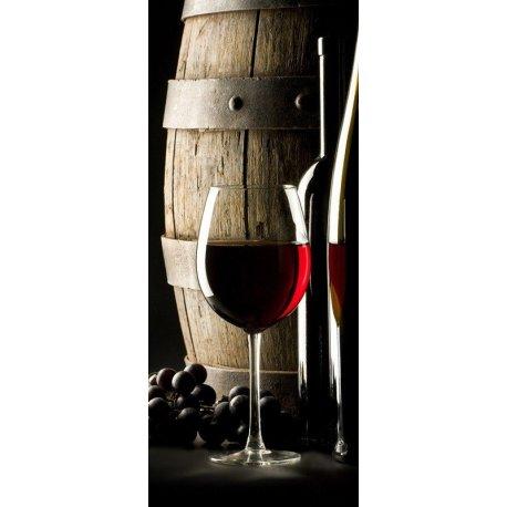 Uvas, Barril y Copa de Vino Tinto