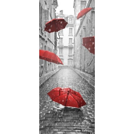 Paraguas Rojos en la Lluvia