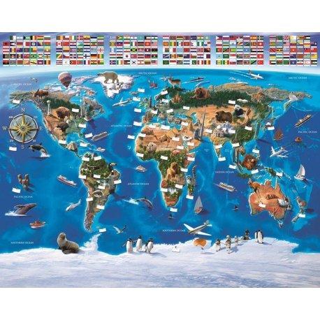 Mapamundi Didáctico Banderas del Mundo