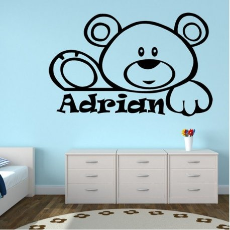 Vinilo decorativo infantil oso saludando for Vinilos 3d para interior