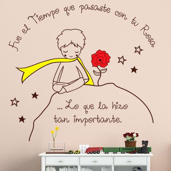 Vinilo Decorativo Infantil El Principito Junto A Su Rosa