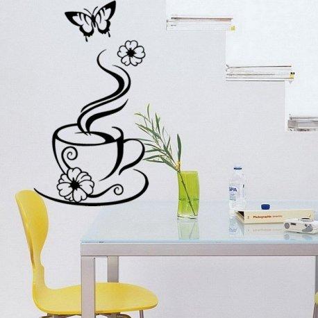 Vinilo decorativo taza de caf con flores y mariposa - Cenefas vinilo cocina ...