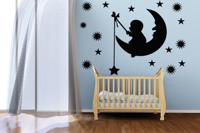 Vinilo Decorativo Infantil La Silueta Del Bebé En La Luna