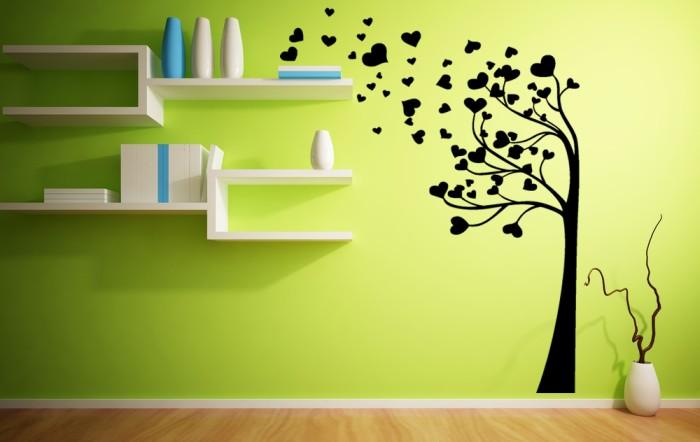 Vinilo decorativo rbol con hojas de coraz n - Dibujos faciles para paredes ...