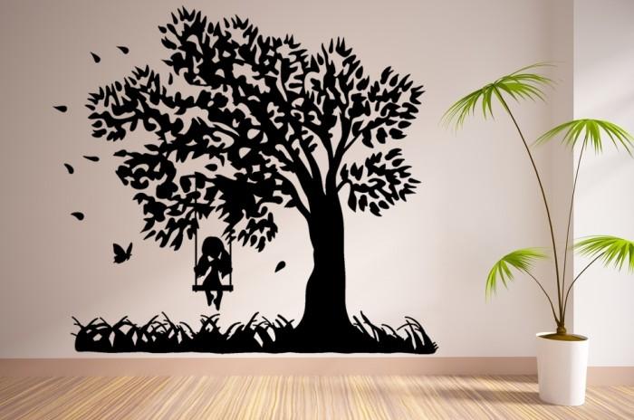 Vinilo decorativo el rbol del columpio y la ni a - Vinilos de arboles para paredes ...
